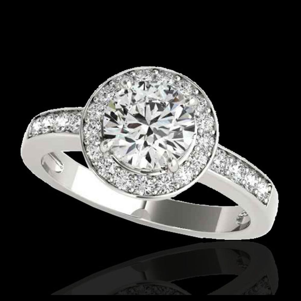 1.40 ctw H-SI/I Diamond Solitaire Halo Ring 10K White Gold - REF-200H5M - SKU:34342