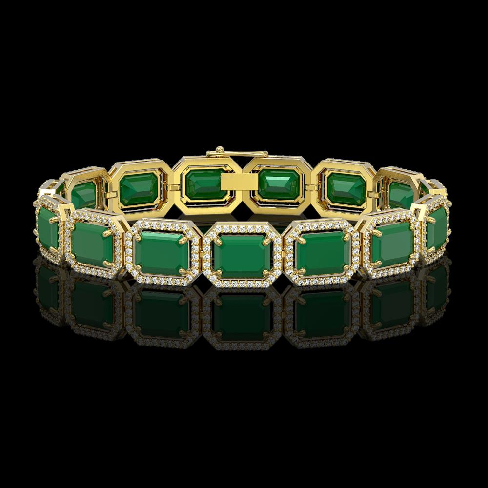 38.61 ctw Emerald & Diamond Halo Bracelet 10K Yellow Gold - REF-456N5A - SKU:41524