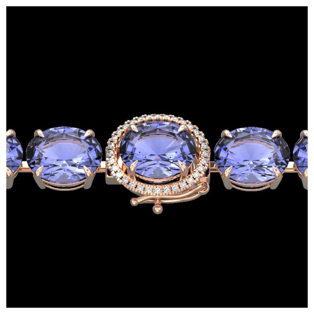 75 ctw Tanzanite & Diamond Bracelet 14K Rose Gold - REF-865F6N - SKU:22279