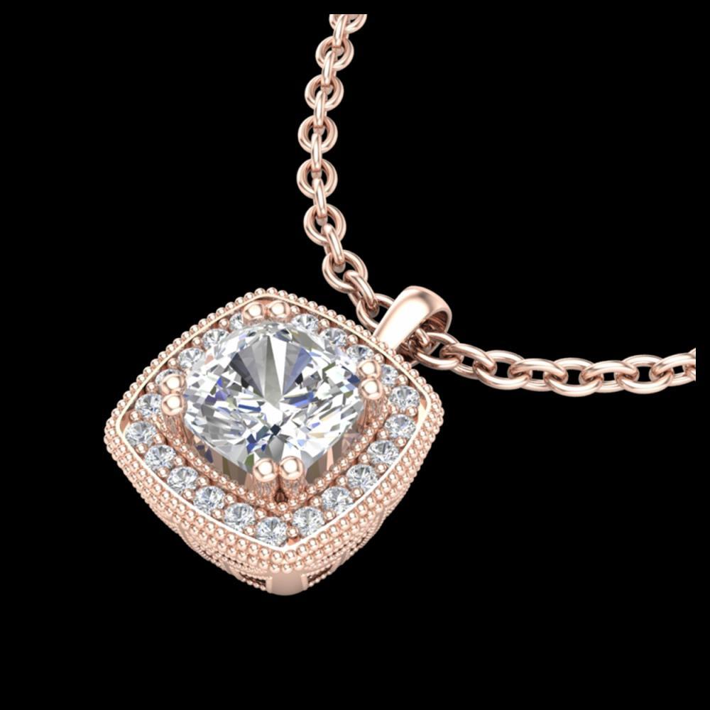 1.25 ctw VS/SI Cushion Diamond Art Deco Necklace 18K Rose Gold - REF-337W5H - SKU:37038