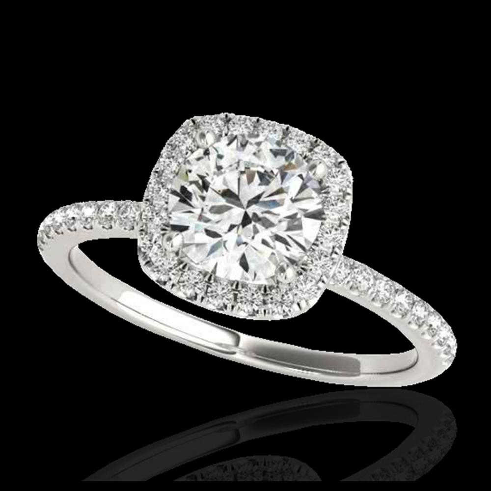 1.50 ctw H-SI/I Diamond Solitaire Halo Ring 10K White Gold - REF-156N8A - SKU:33334
