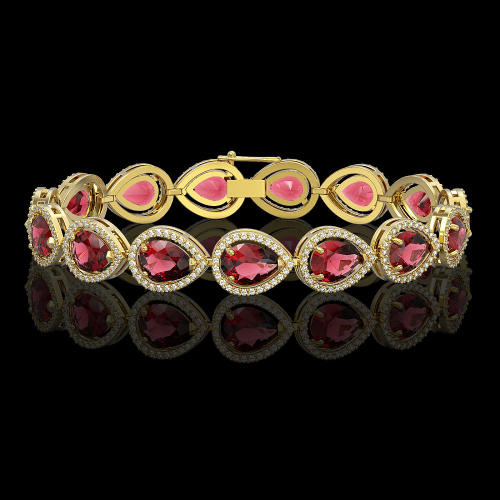 19.7 ctw Tourmaline & Diamond Halo Bracelet 10K Yellow Gold - REF-509F3N - SKU:41254