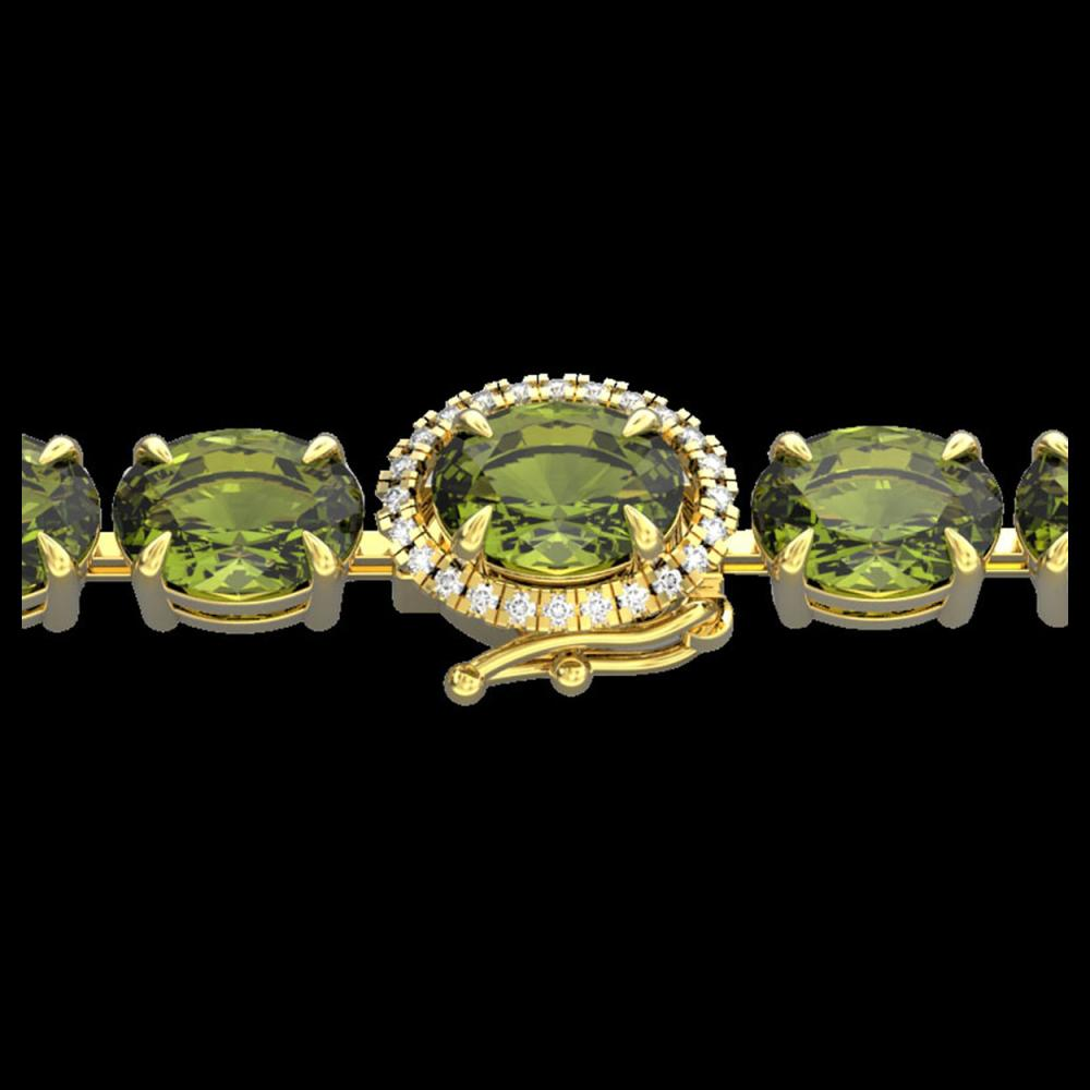 17.25 ctw Green Tourmaline & VS/SI Diamond Bracelet 14K Yellow Gold - REF-172K7W - SKU:40236