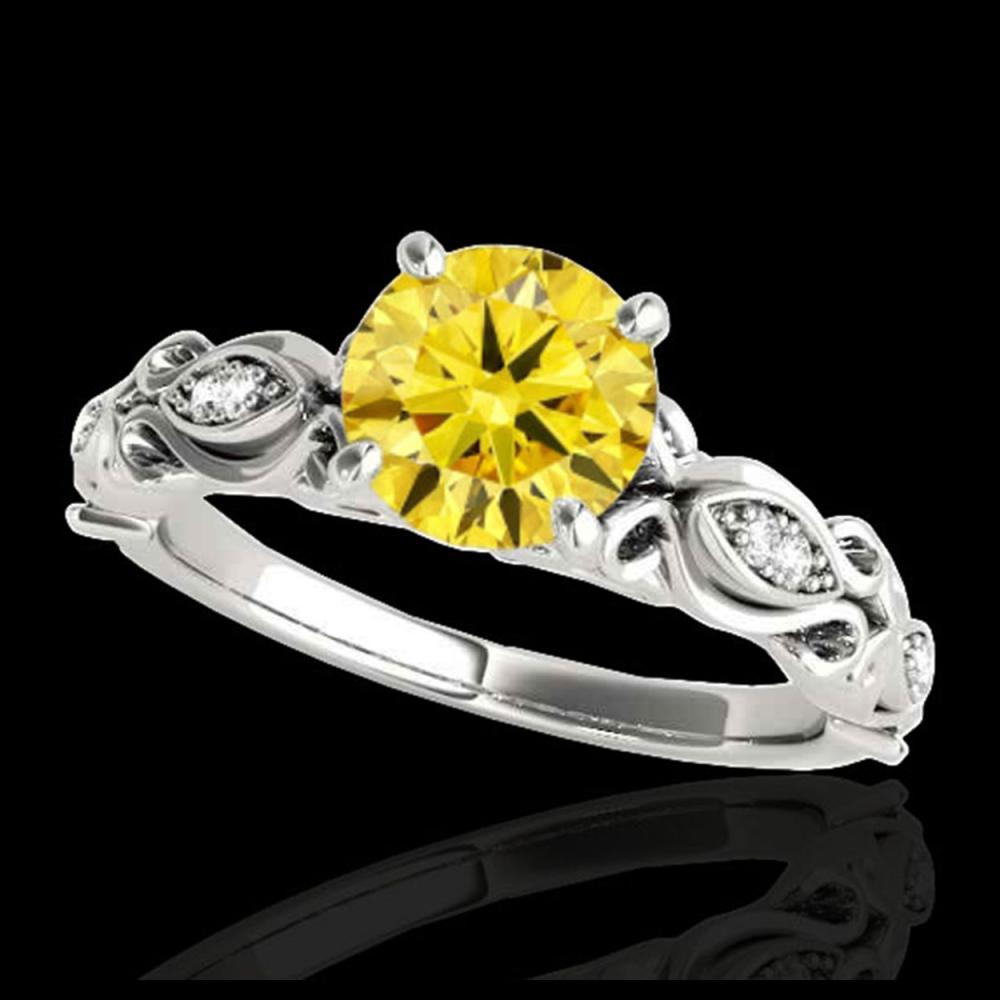 1.10 ctw SI Intense Yellow Diamond Ring 10K White Gold - REF-184H3M - SKU:34637