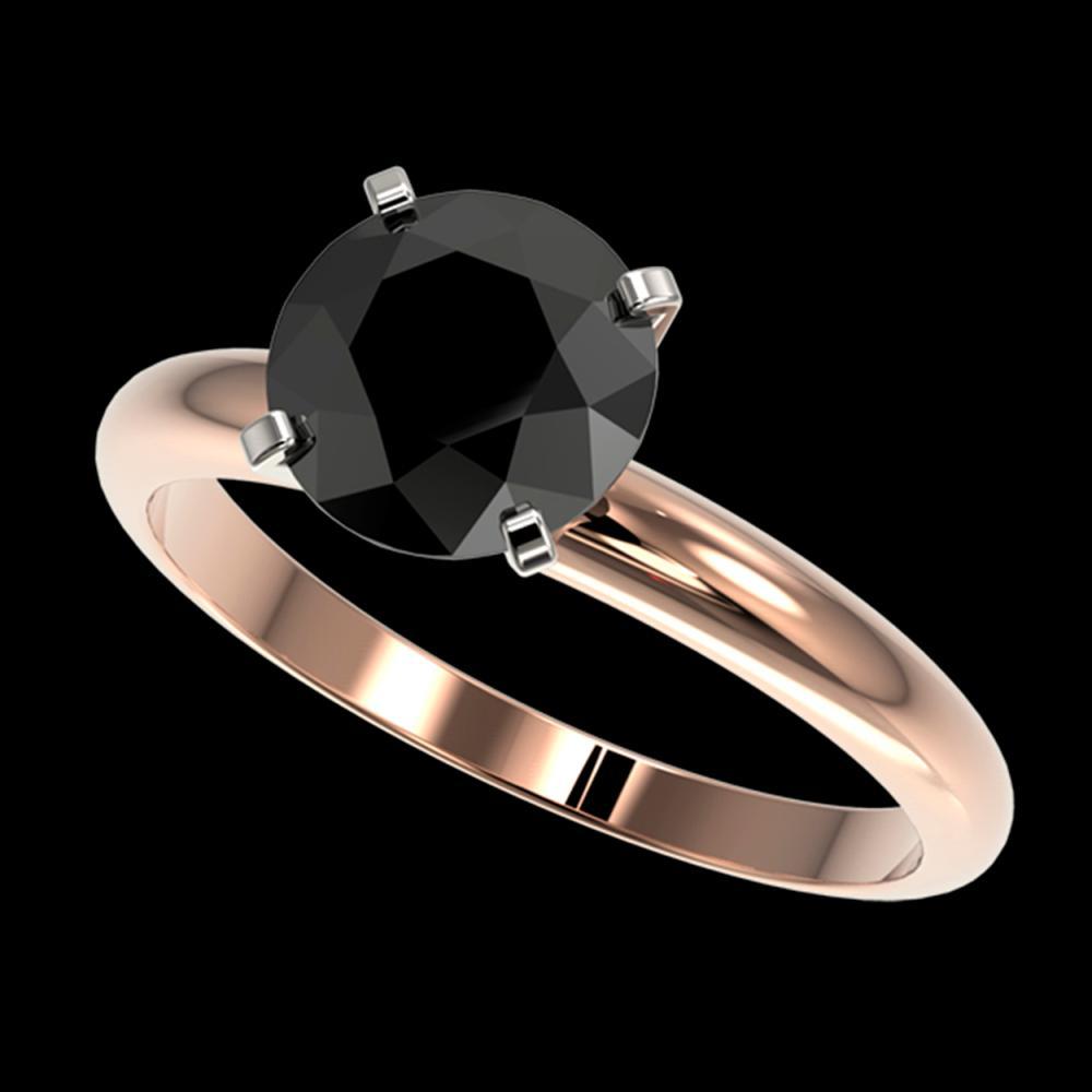 2.09 ctw Fancy Black Diamond Solitaire Ring 10K Rose Gold - REF-58R5K - SKU:36453