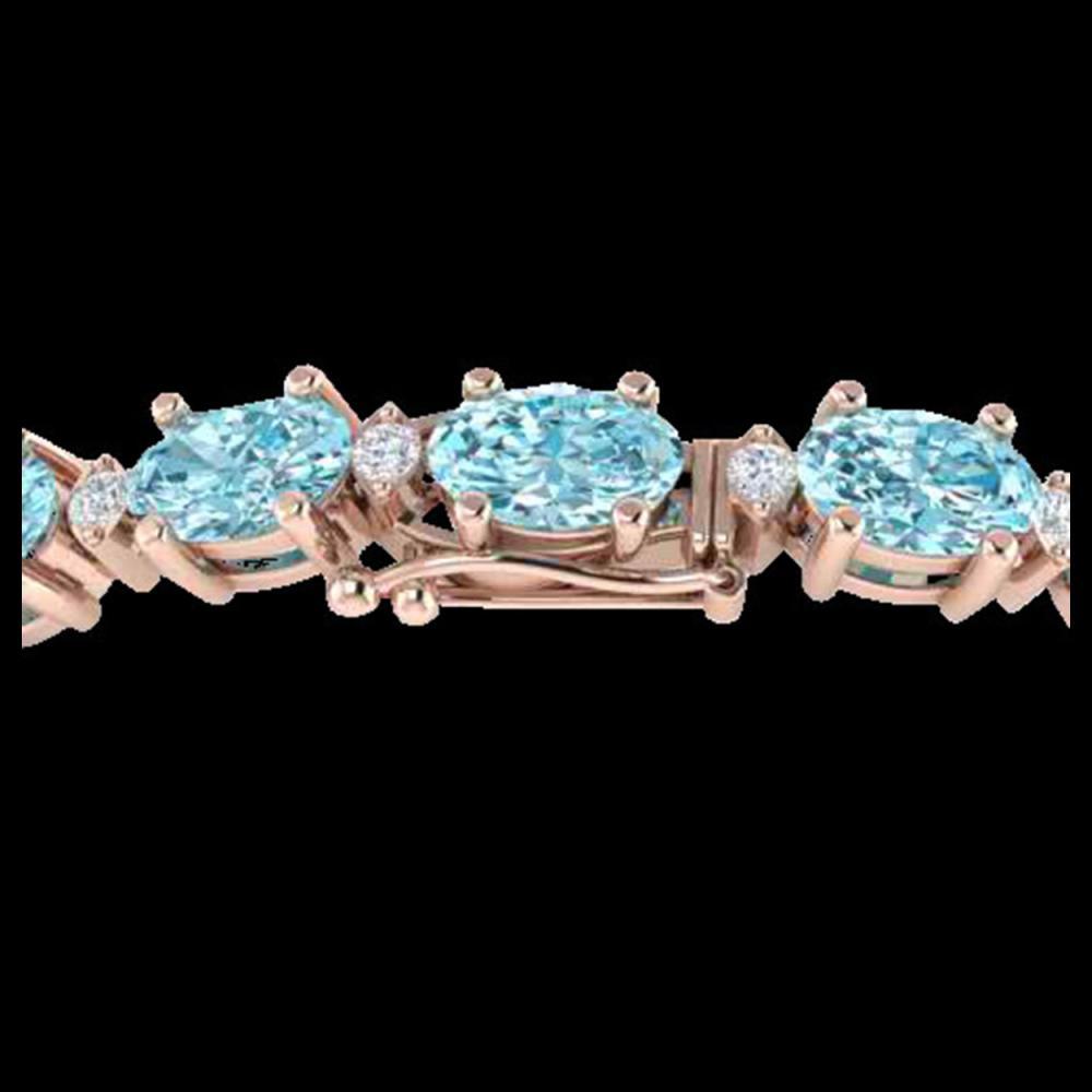 19.7 ctw Sky Blue Topaz & VS/SI Diamond Eternity Bracelet 10K Rose Gold - REF-98H2M - SKU:29383