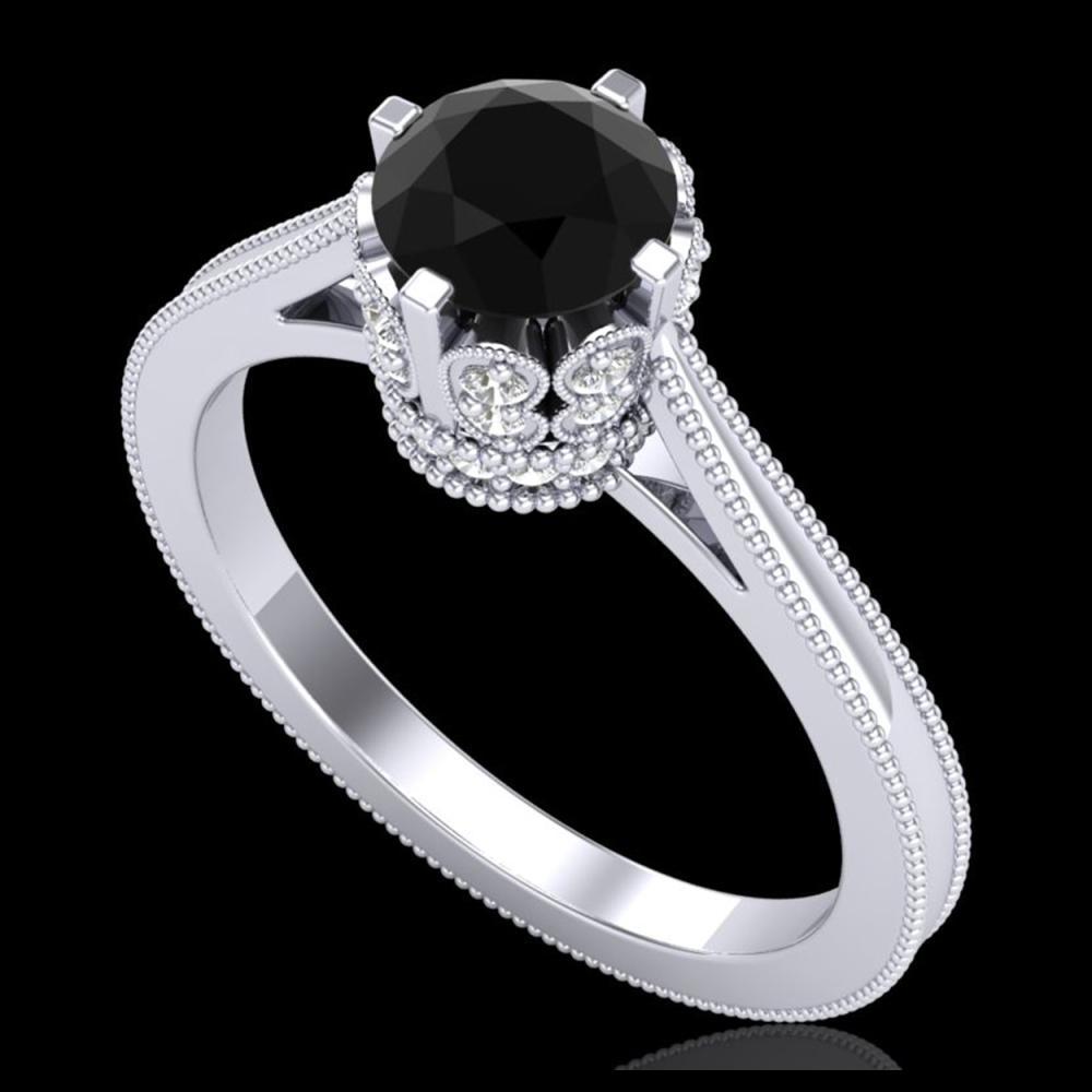1.14 ctw Fancy Black Diamond Art Deco Ring 18K White Gold - REF-94N5A - SKU:37338