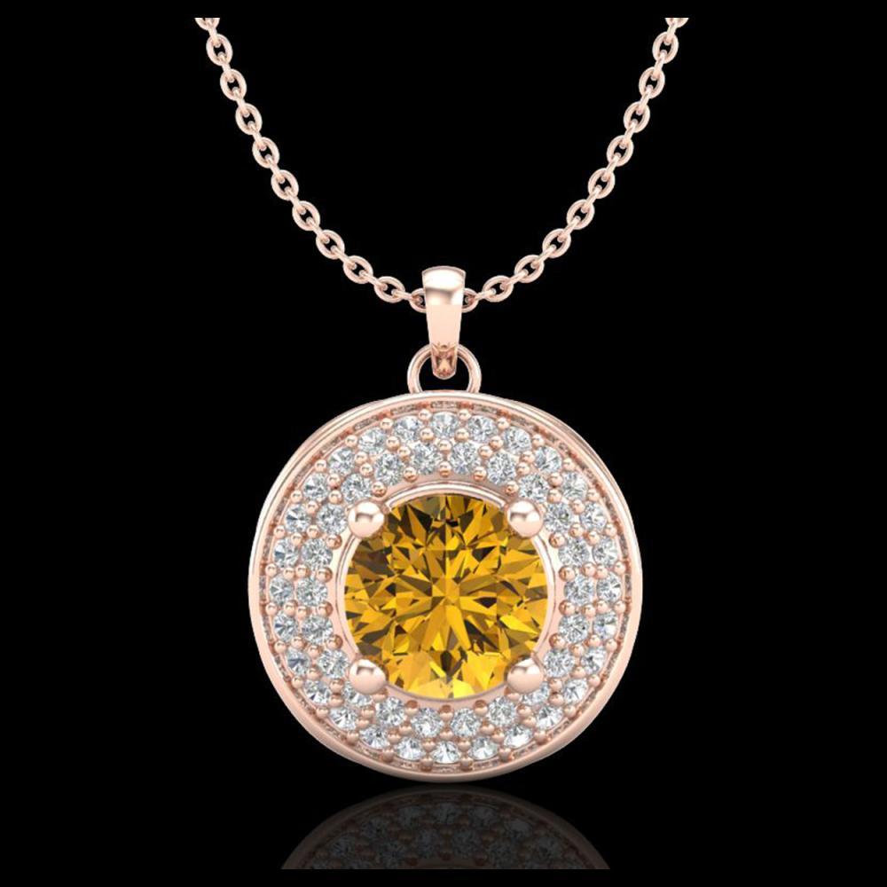 1.25 ctw Intense Fancy Yellow Diamond Art Deco Necklace 18K Rose Gold - REF-161R8K - SKU:38142