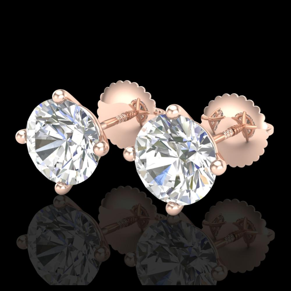 3.01 ctw VS/SI Diamond Solitaire Art Deco Stud Earrings 18K Rose Gold - REF-1009V3Y - SKU:37311