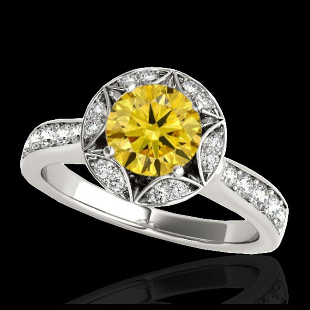 1.50 ctw SI/I Fancy Intense Yellow Diamond Ring 10K White Gold - REF-135K2W - SKU:34236