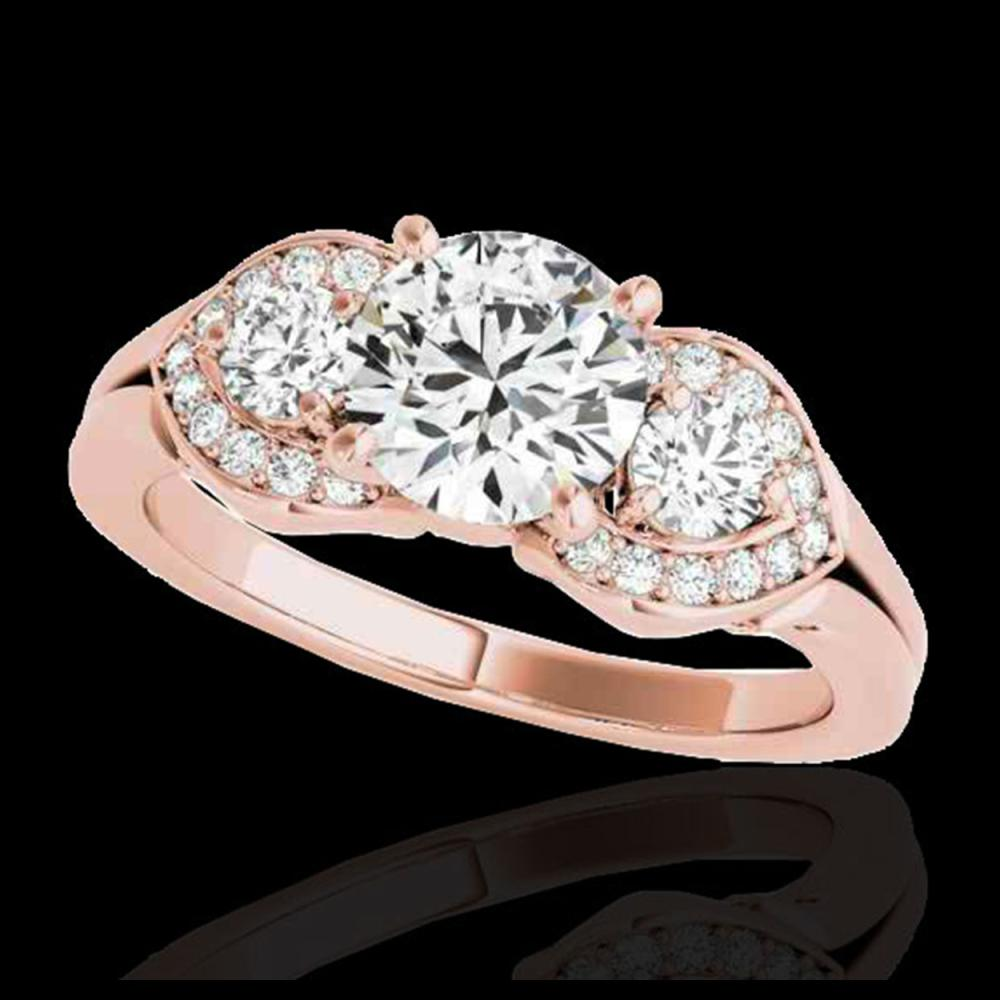 1.70 ctw H-SI/I Diamond 3 Stone Solitaire Ring 10K Rose Gold - REF-252W3H - SKU:35341