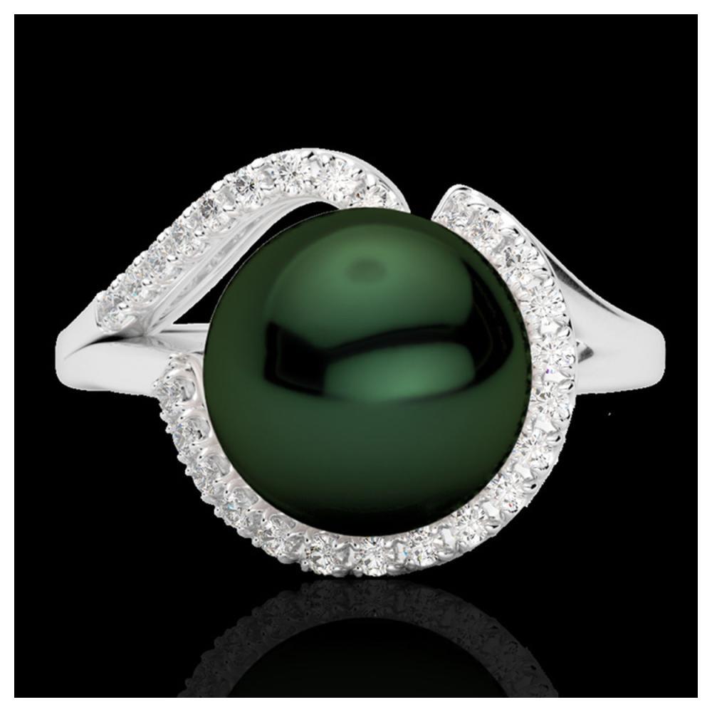 0.27 ctw VS/SI Diamond & Peacock Pearl Ring 18K White Gold - REF-50N7A - SKU:22621