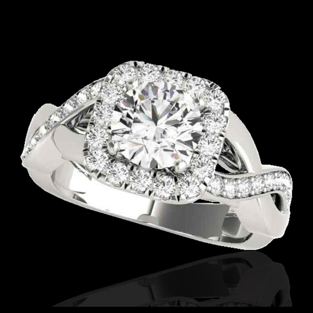 1.65 ctw H-SI/I Diamond Solitaire Halo Ring 10K White Gold - REF-218X2R - SKU:33307