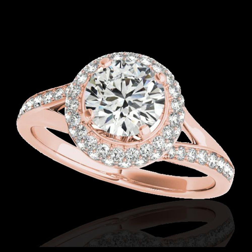 1.85 ctw H-SI/I Diamond Solitaire Halo Ring 10K Rose Gold - REF-250F9N - SKU:34124