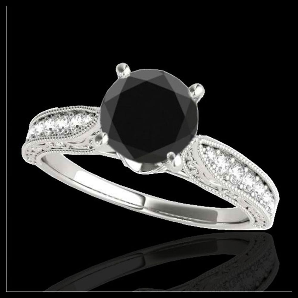 1.21 ctw VS Black Diamond Solitaire Ring 10K White Gold - REF-35W2H - SKU:34723