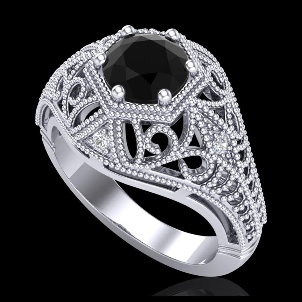 1.07 ctw Fancy Black Diamond Art Deco Ring 18K White Gold - REF-85V5Y - SKU:37548