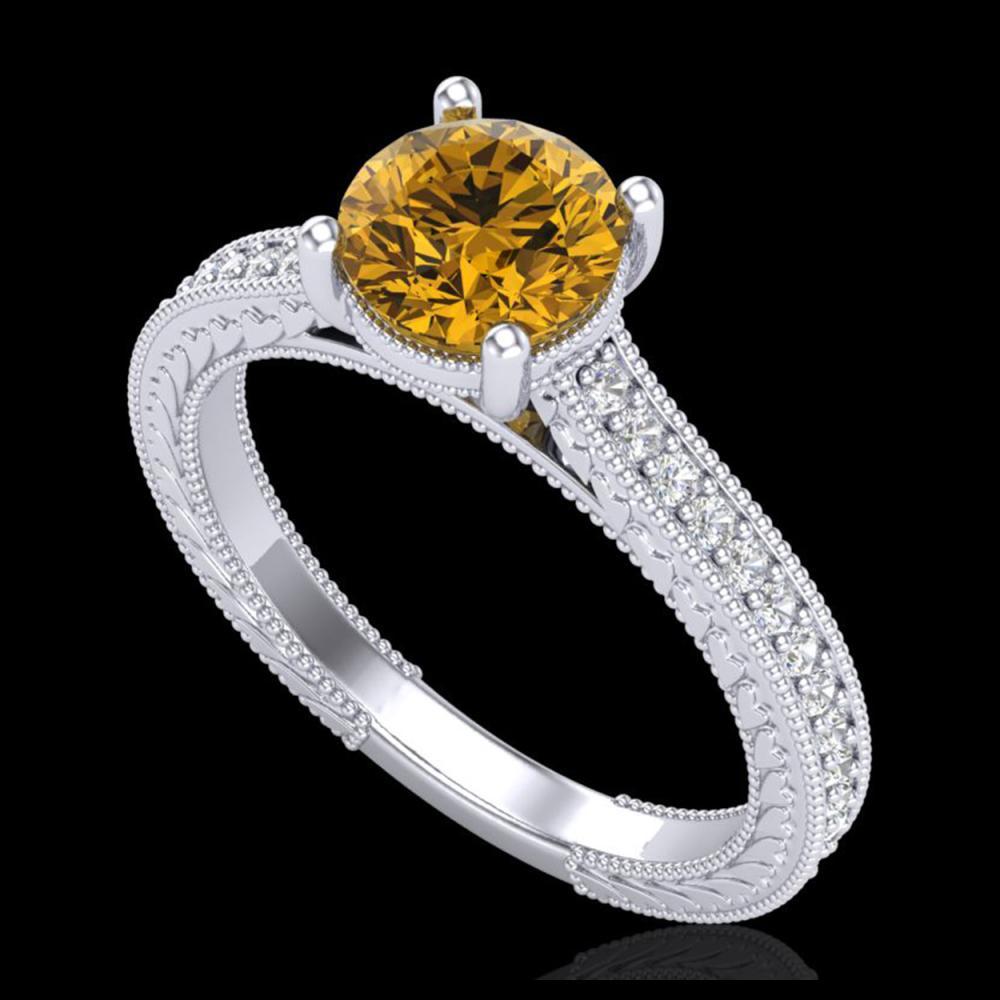 1.45 ctw Intense Fancy Yellow Diamond Art Deco Ring 18K White Gold - REF-290A9V - SKU:37756