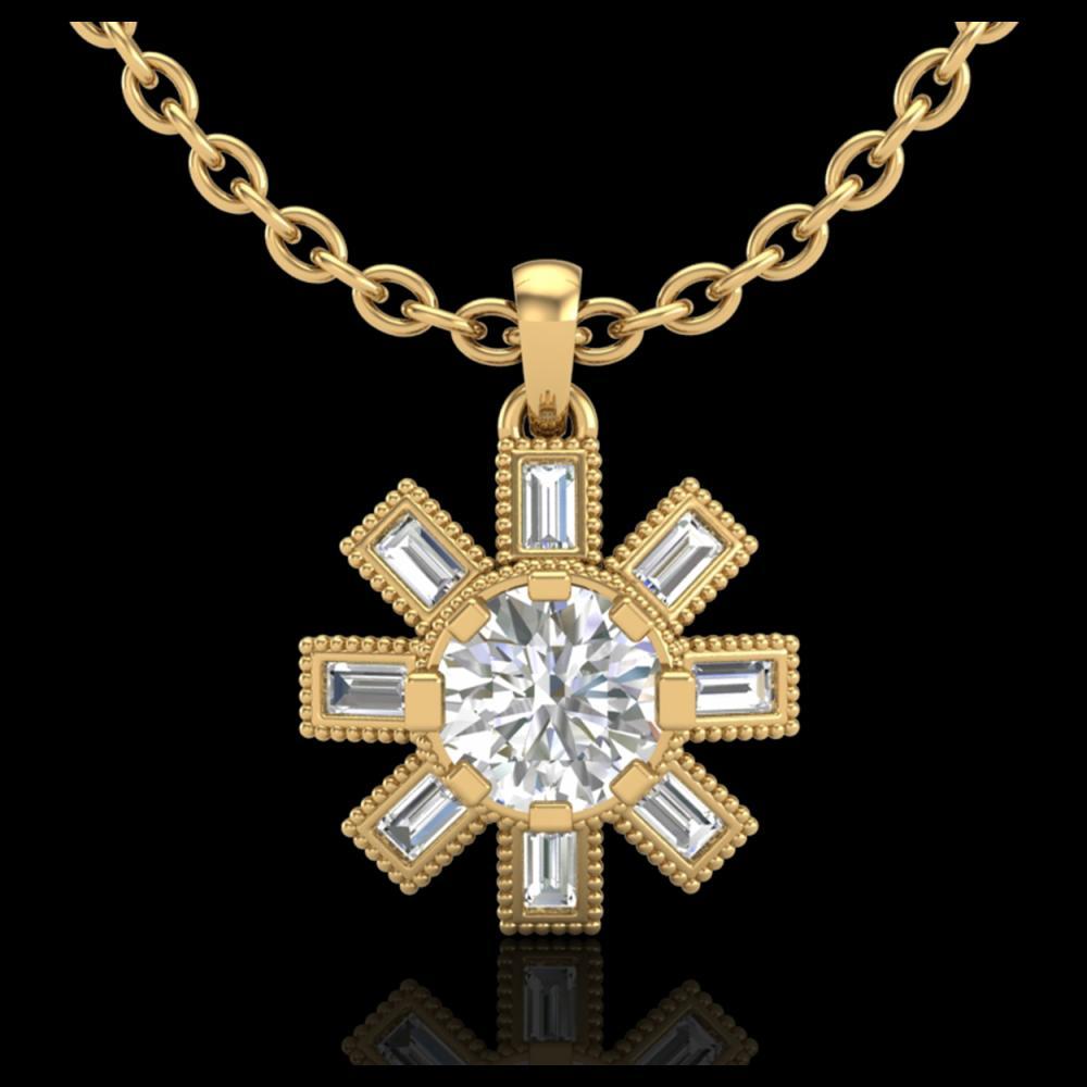 1.33 ctw VS/SI Diamond Solitaire Art Deco Necklace 18K Yellow Gold - REF-220R9K - SKU:37069