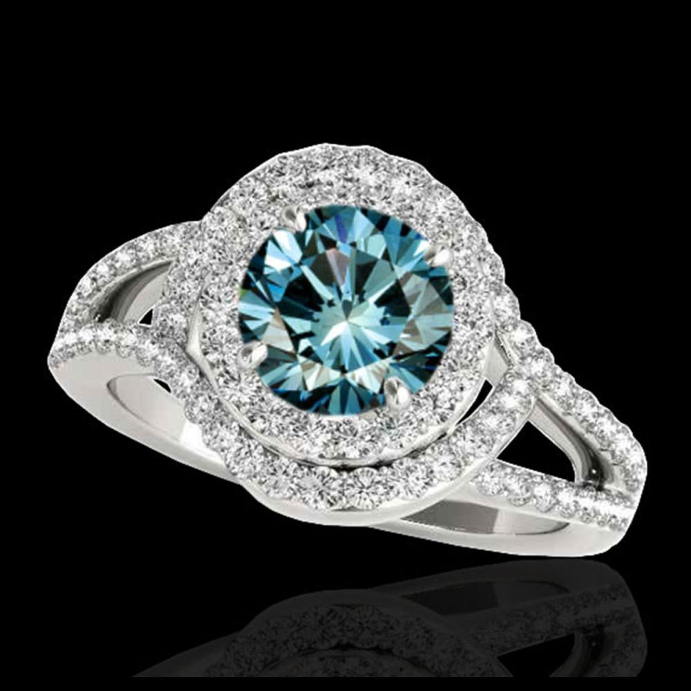 2.15 ctw SI Fancy Blue Diamond Halo Ring 10K White Gold - REF-204M5F - SKU:34401