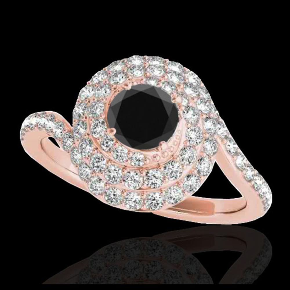 1.86 ctw VS Black Diamond Solitaire Halo Ring 10K Rose Gold - REF-66V8Y - SKU:34508