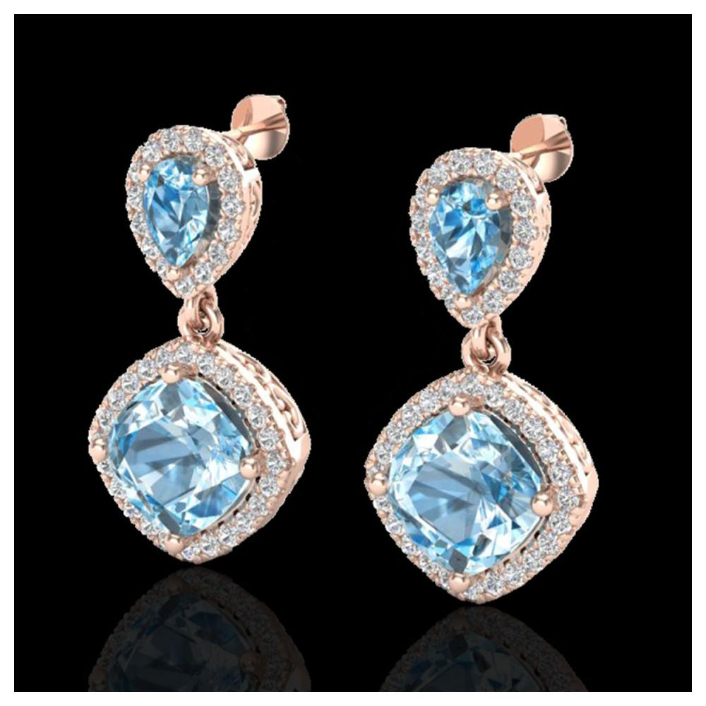 7 ctw Sky Blue Topaz & VS/SI Diamond Earrings 10K Rose Gold - REF-79N3A - SKU:20199