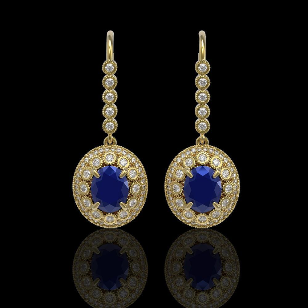 9.25 ctw Sapphire & Diamond Earrings 14K Yellow Gold - REF-243X5R - SKU:43609