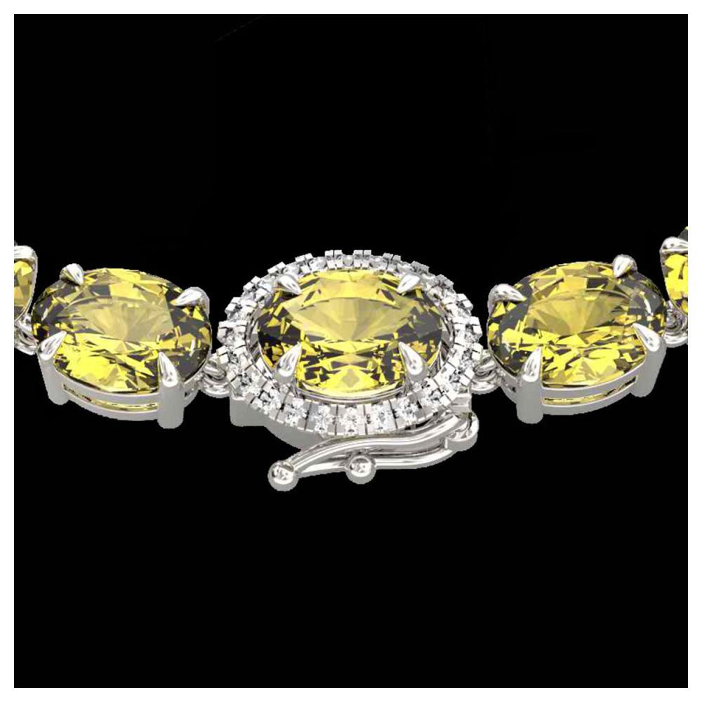 72 ctw Citrine & VS/SI Diamond Necklace 14K White Gold - REF-281M8F - SKU:23455
