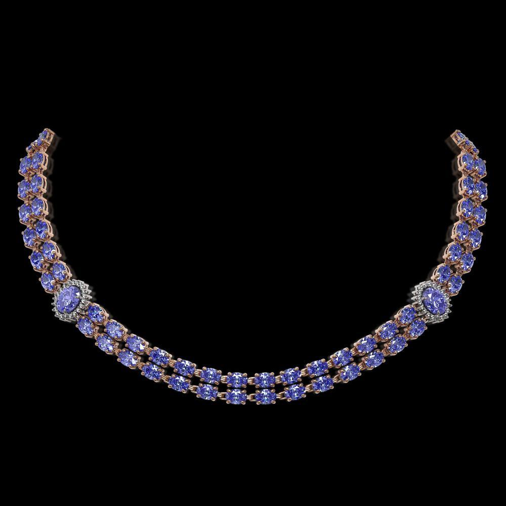 36.19 ctw Tanzanite & Diamond Necklace 14K Rose Gold - REF-473M6F - SKU:44178