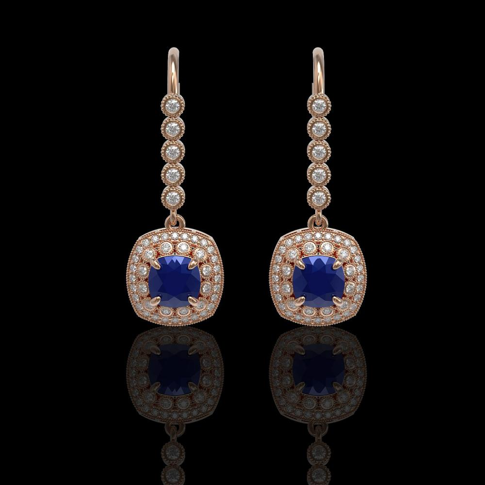 5.1 ctw Sapphire & Diamond Earrings 14K Rose Gold - REF-132V9Y - SKU:44055