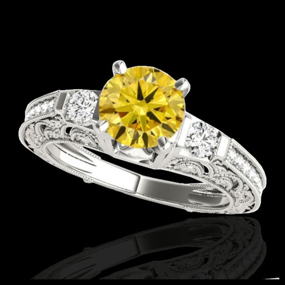 1.38 ctw SI Intense Yellow Diamond Ring 10K White Gold - REF-130V9Y - SKU:34646