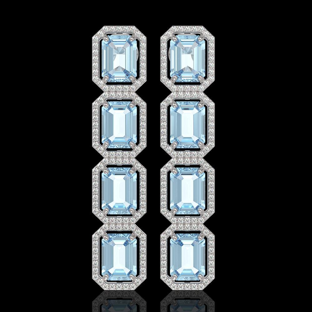 18.99 ctw Sky Topaz & Diamond Halo Earrings 10K White Gold - REF-178M2F - SKU:41600