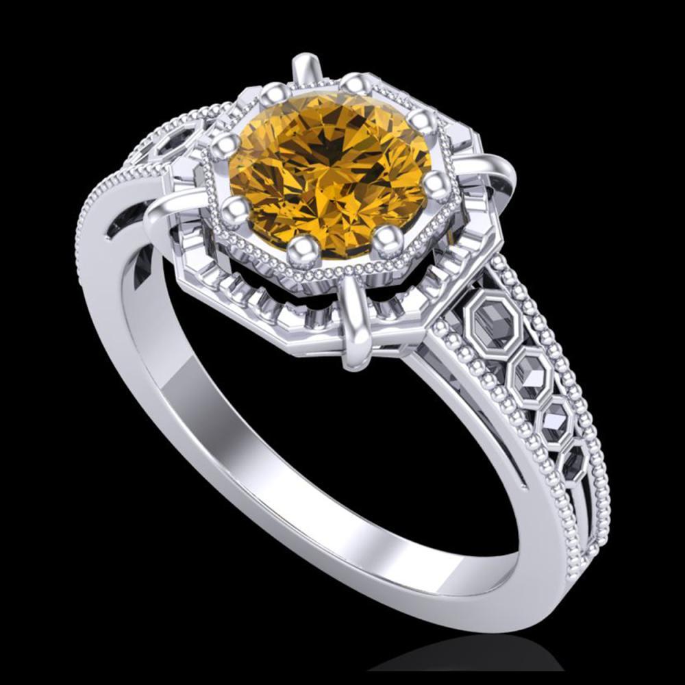 1 ctw Intense Fancy Yellow Diamond Art Deco Ring 18K White Gold - REF-200A2V - SKU:37448