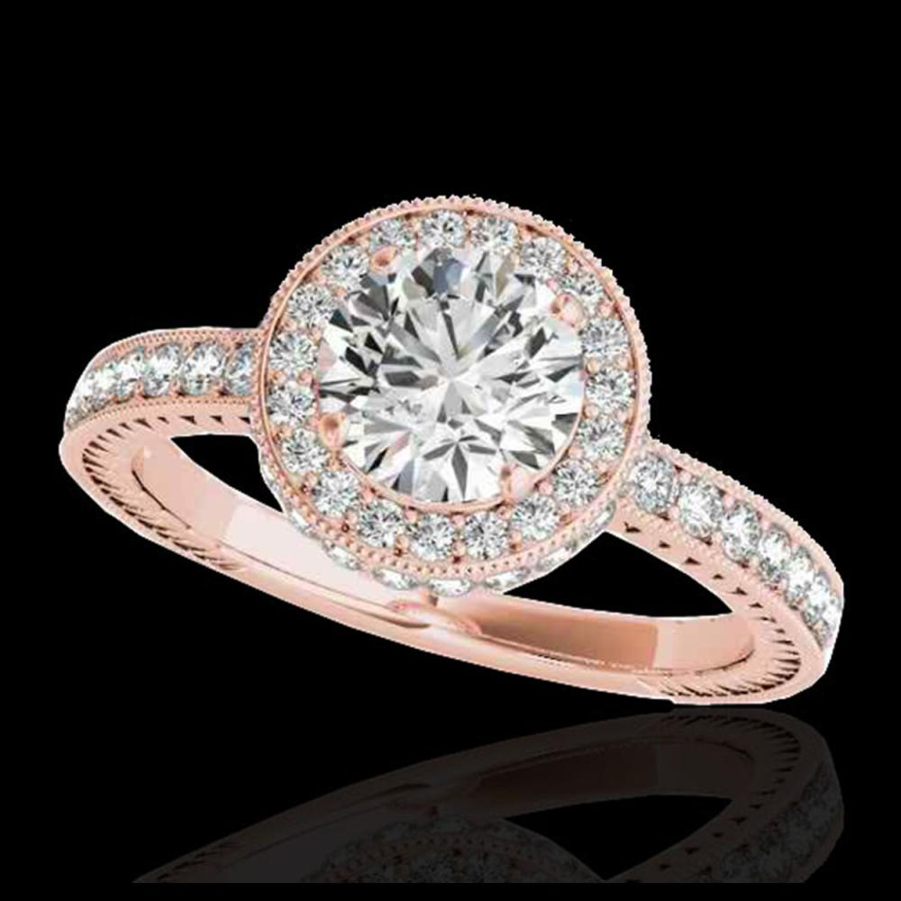 1.51 ctw H-SI/I Diamond Solitaire Halo Ring 10K Rose Gold - REF-165X2R - SKU:34302