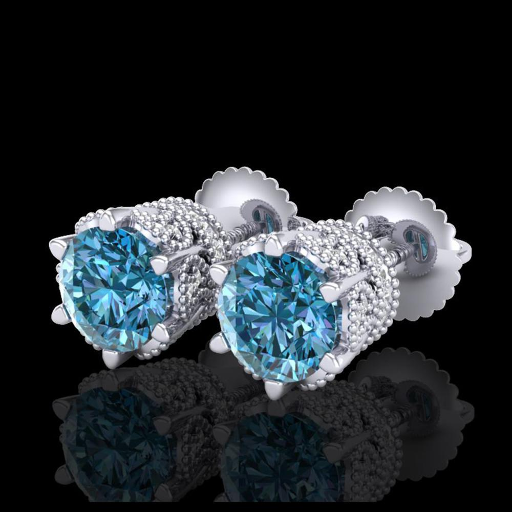 2.04 ctw Fancy Intense Blue Diamond Art Deco Earrings 18K White Gold - REF-209N3A - SKU:38097