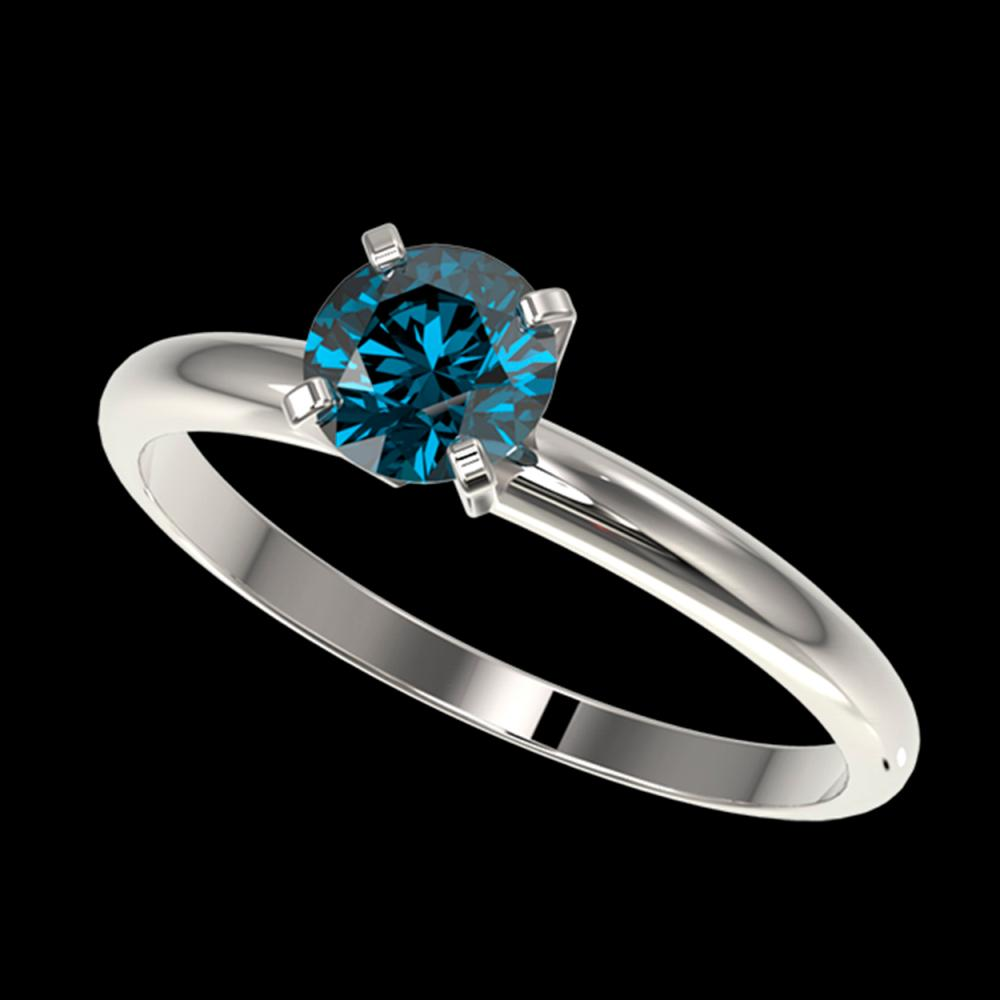 0.77 ctw Intense Blue Diamond Ring 10K White Gold - REF-97Y5X - SKU:36391