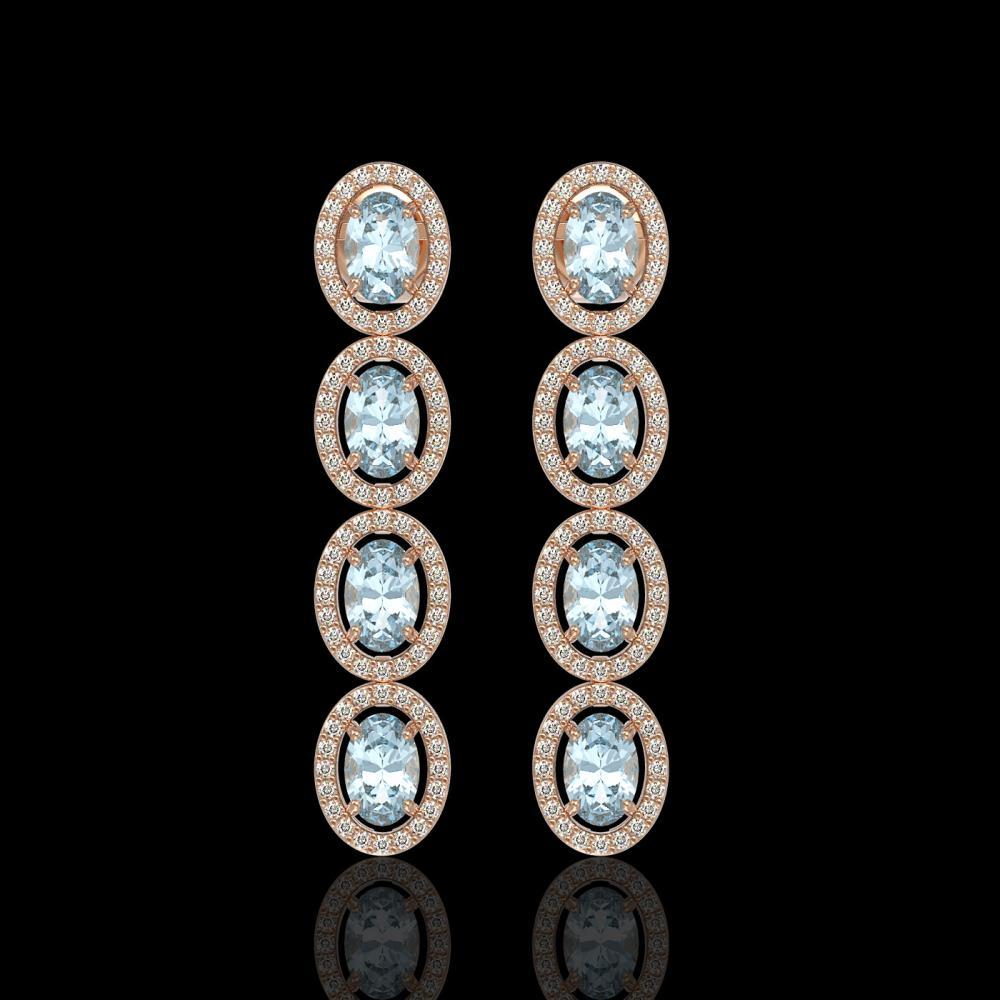 4.68 ctw Aquamarine & Diamond Halo Earrings 10K Rose Gold - REF-125N5A - SKU:40527