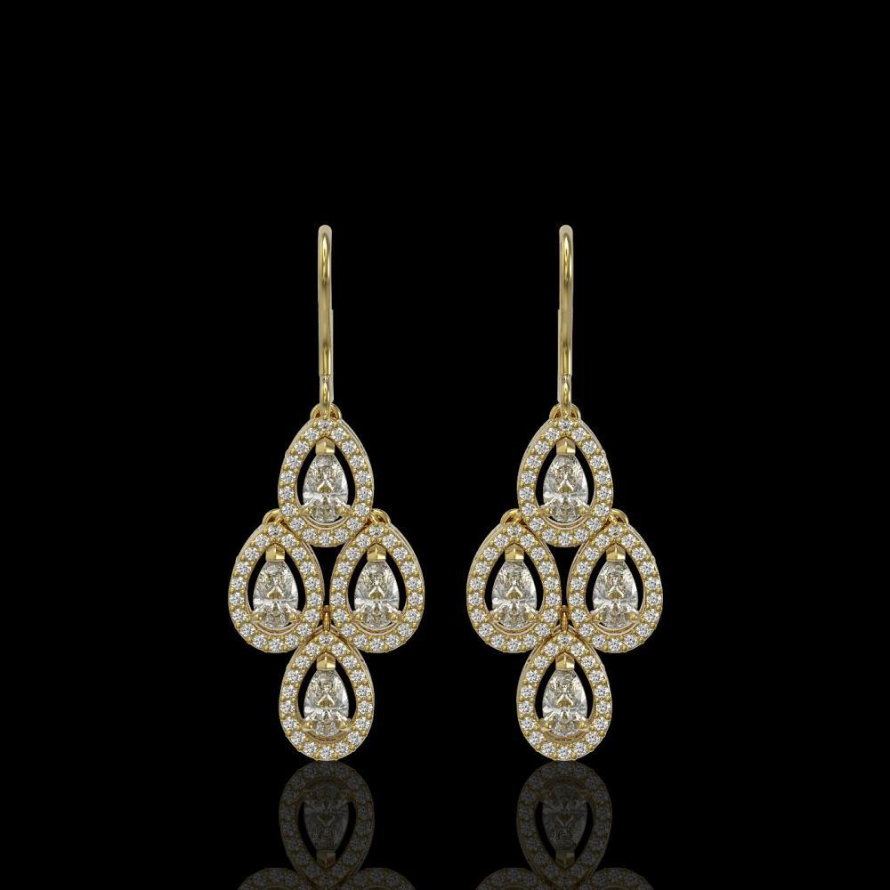 3.07 ctw Pear Diamond Earrings 18K Yellow Gold - REF-269R2K - SKU:42955