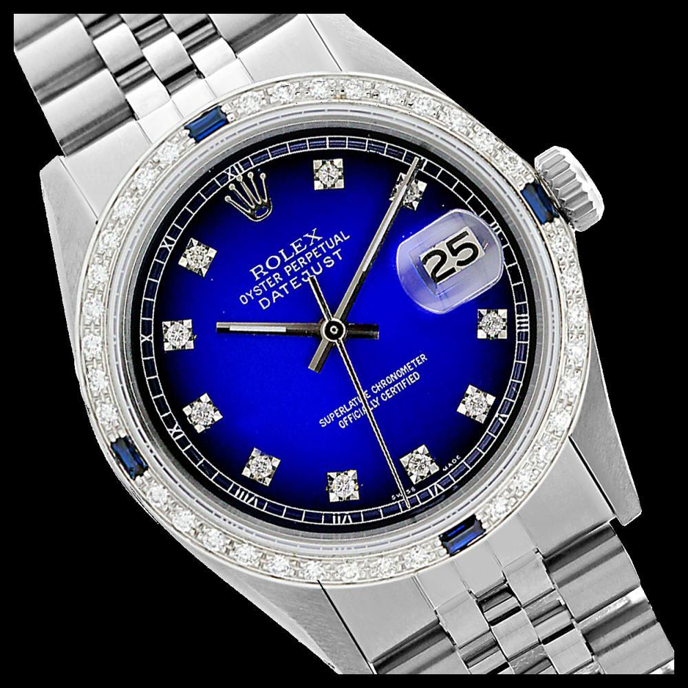 Rolex Men's Stainless Steel, QuickSet, Diam Dial & Diam/Sapphire Bezel - REF-521F5M