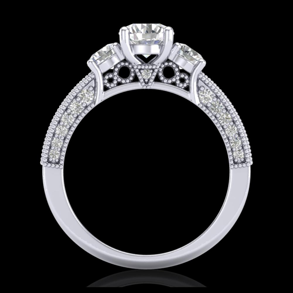 2.07 ctw VS/SI Diamond Solitaire Art Deco 3 Stone Ring 18K White Gold - REF-270V2Y - SKU:37016
