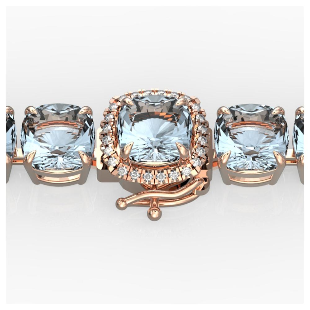 35 ctw Aquamarine & Diamond Bracelet 14K Rose Gold - REF-304W7H - SKU:23300