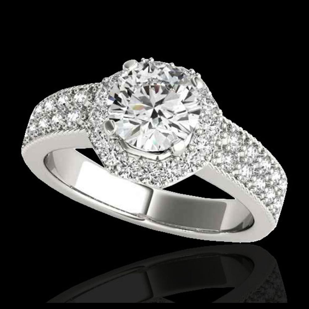 1.40 ctw H-SI/I Diamond Solitaire Halo Ring 10K White Gold - REF-204W5H - SKU:34549