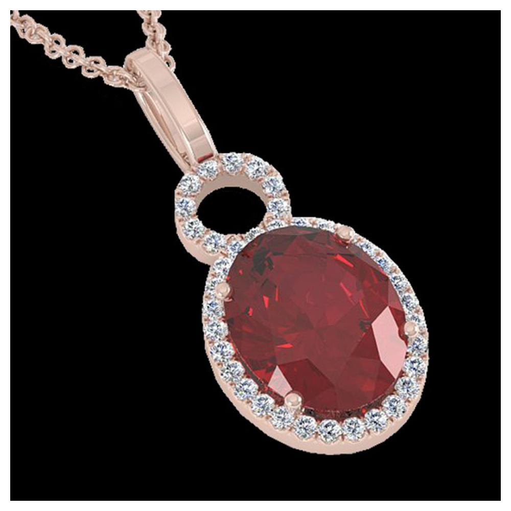 4 ctw Garnet & Halo VS/SI Diamond Necklace 14K Rose Gold - REF-45R3K - SKU:22762