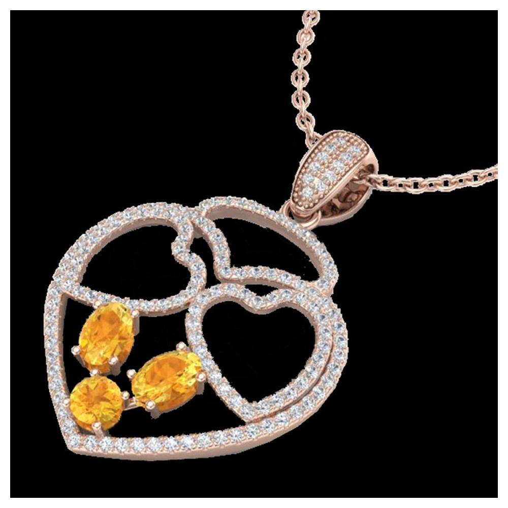 3 ctw Citrine & Heart Necklace 14K Rose Gold - REF-134N5A - SKU:22537