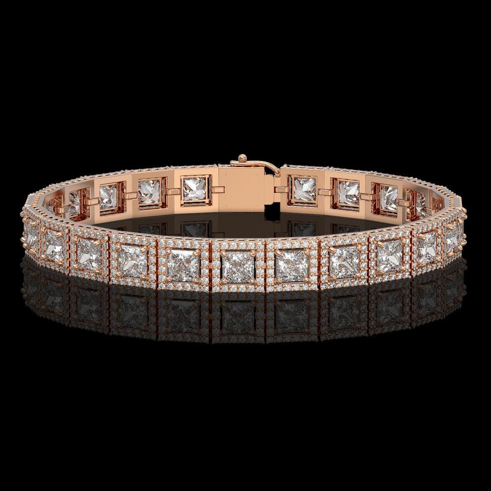 15.87 ctw Princess Diamond Bracelet 18K Rose Gold - REF-2171X9R - SKU:42636