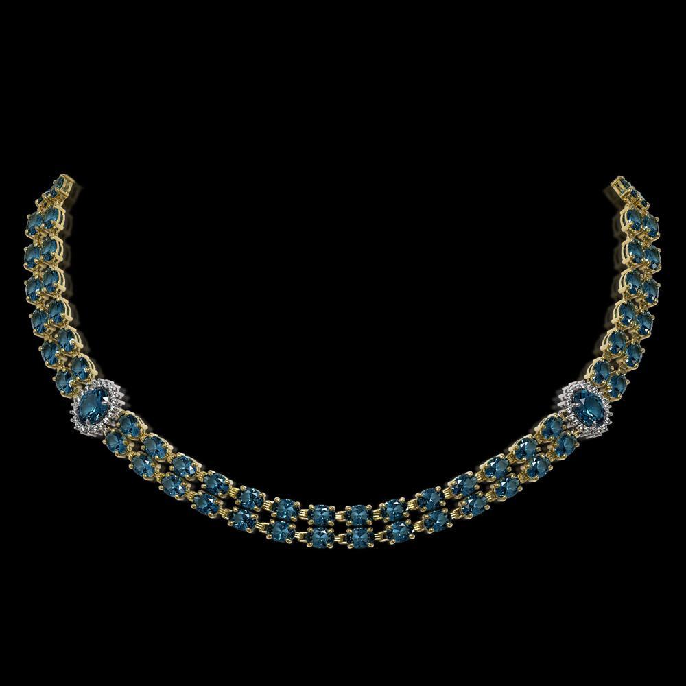 39.28 ctw London Topaz & Diamond Necklace 14K Yellow Gold - REF-413V5Y - SKU:44206