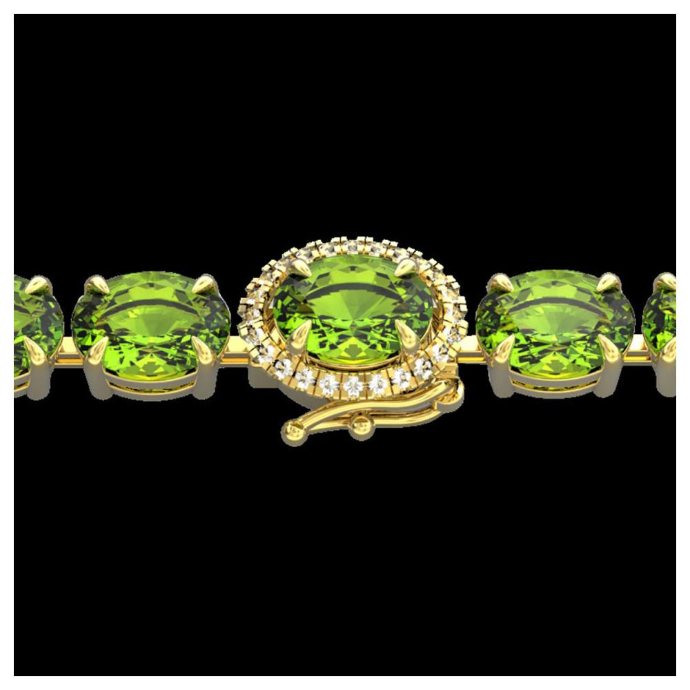 32 ctw Peridot & VS/SI Diamond Bracelet 14K Yellow Gold - REF-180R2K - SKU:23434