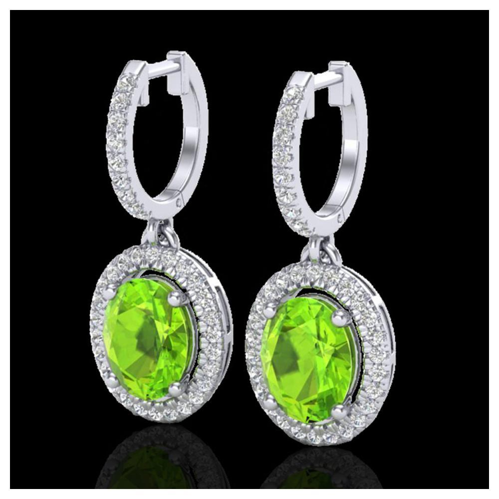 3.75 ctw Peridot & VS/SI Diamond Earrings 18K White Gold - REF-105V5Y - SKU:20329