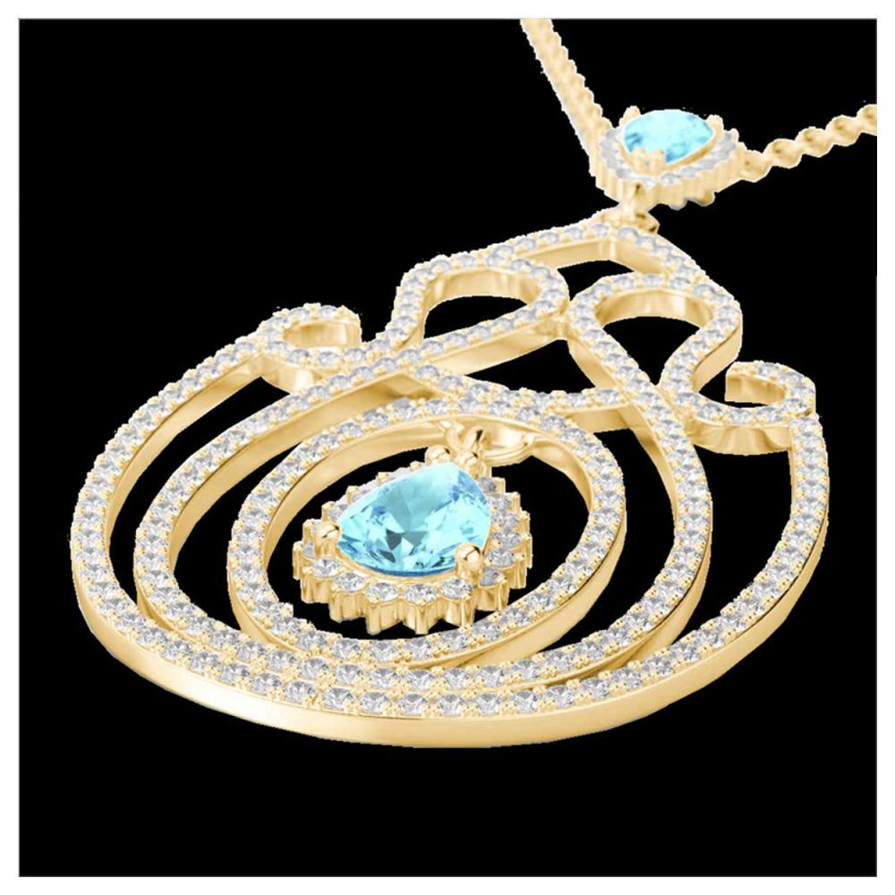 3.20 ctw Sky Blue Topaz & Diamond Heart Necklace 14K Yellow Gold - REF-212W7H - SKU:22445