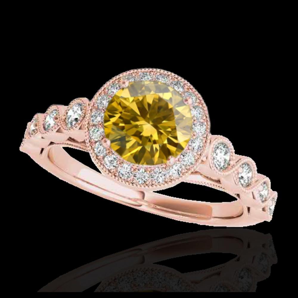 1.50 ctw SI/I Fancy Intense Yellow Diamond Ring 10K Rose Gold - REF-204X5R - SKU:33606