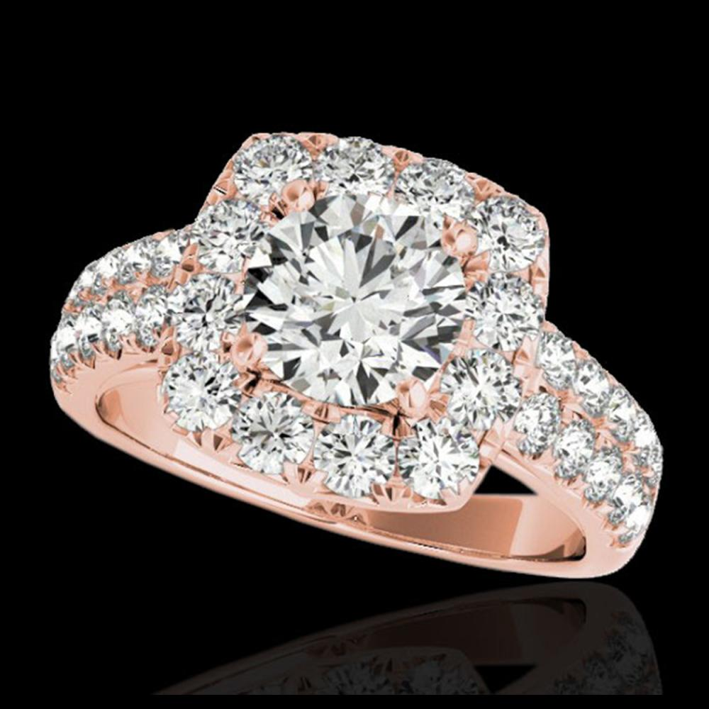 2.5 ctw H-SI/I Diamond Solitaire Halo Ring 10K Rose Gold - REF-211K4W - SKU:33644